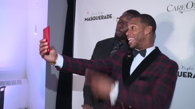Jason Pierre Paul and Victor Cruz at Daniel E Straus CareOne Starry Night Masquerade For Puerto Rico at Skylight Clarkson Sq on October 19 2017 in...