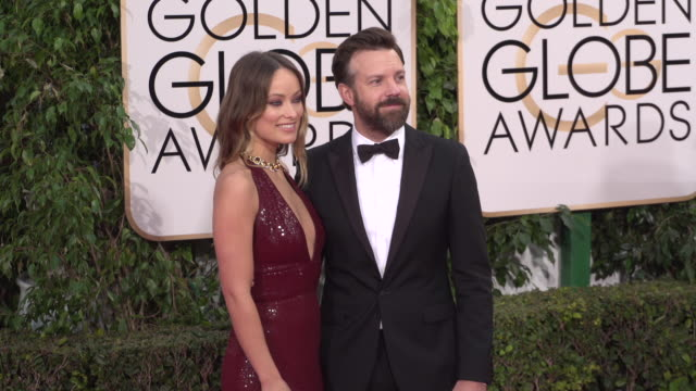 Jason Sudeikis and Olivia Wilde at the 73rd Annual Golden Globe Awards Arrivals at The Beverly Hilton Hotel on January 10 2016 in Beverly Hills...