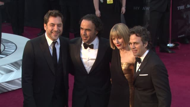 Javier Bardem Alejandro Gonzalez Inarritu Sunrise Ruffalo Mark Ruffalo at the 83rd Annual Academy Awards Arrivals Part 3 at Hollywood CA