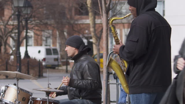 Jazz duo performing in Washington Square Park