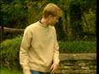 Jeans are 'back in' LIB Highgrove MS Prince William along to stand beside wall wearing jeans NAT