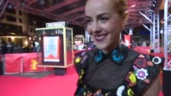 INTERVIEW Jena Malone on the premiere in Berlin relief that the film is finaly done at 'Angelica' Red Carpet 65th Berlin Film Festival at Zoo Palast...