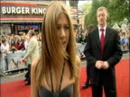 Jennifer Aniston interviewed on red carpet at London premiere of 'The Break Up'; 24 June 2006