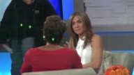 Jennifer Aniston on set of the Good Morning America show in Celebrity Sightings in New York