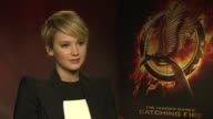 INTERVIEW Jennifer Lawrence on her haircut at The Hunger Games Catching Fire' Interviews on November 11 2013 in London England