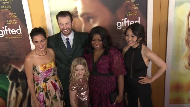 Jenny Slate Chris Evans Mckenna Grace Octavia Spencer and Jona Xiao at 'Gifted' Los Angeles Premiere Presented By Fox Searchlight at Pacific Theatres...