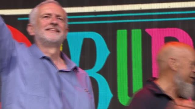 Jeremy Corbyn addresses Glastonbury Festival Somerset Glastonbury Jeremy Corbyn on stage with Michael Eavis as crowd chant 'Oh Jeremy Corbyn' SOT...