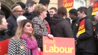 Jeremy Corbyn and Jim McMahon speech ***SOUND Greater Manchester Oldham EXT Labour supporters with placards on town hall steps / Jeremy Corbyn MP and...