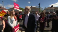 Jeremy Corbyn arriving in Warrington and saying 'today is flying start saturday in our election campaign'