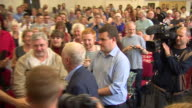 Jeremy Corbyn at a public speaking event in Crawley and greeting supporters