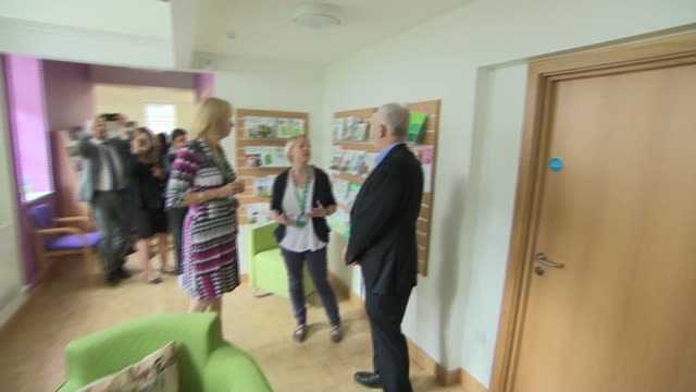 Jeremy Corbyn cancer centre visit and interview ENGLAND Bristol Macmillan Wellbeing Centre EXT Jeremy Corbyn MP arrival and shaking hands Jeremy...