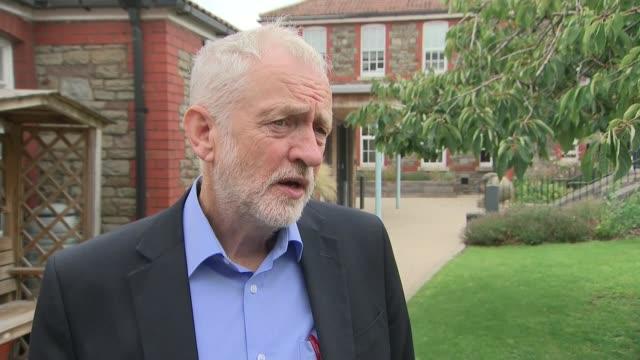 Jeremy Corbyn cancer centre visit and interview EXT Jeremy Corbyn MP interview SOT