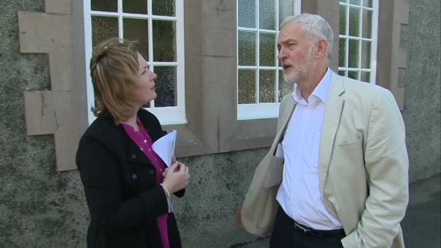 Stornoway EXT Jeremy Corbyn MP interview SOT re SNP food banks rural proofing Jeremy Corbyn arriving in Stornoway off a small commuter plane /...