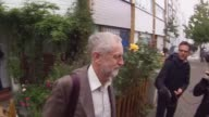 Jeremy Corbyn is interviewed by a journalist as he departs his North London home ahead of the Prime Ministers questions on September 16 2015 in...