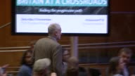 Jeremy Corbyn speech at Congress House ENGLAND London TUC Congress House INT Close shot brochure on Brexit and employment rights Journalists along to...