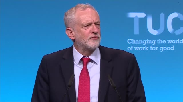 Jeremy Corbyn speech at TUC Conference ENGLAND West Sussex Brighton INT Jeremy Corbyn MP speech continued SOT Corbyn waving on stage as audience...
