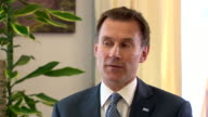 Jeremy Hunt saying the government 'has taken huge measures to modernise and invest which is why 95% of services were back up and running within 24...