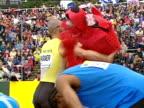 Jeremy Wariner celebrates after winning the men's 400m final at the Aviva London Grand Prix