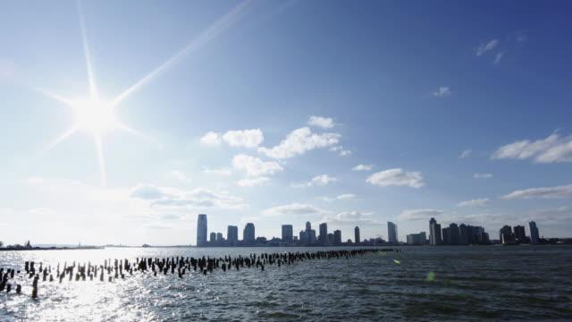T/L WS Jersey City skyline across Hudson River / New Jersey, USA