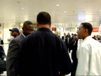 Jesse Jackson arrival at Heathrow Airport ENGLAND London Heathrow Airport INT Reverend Jesse Jackson arriving at airport and shaking hands with well...