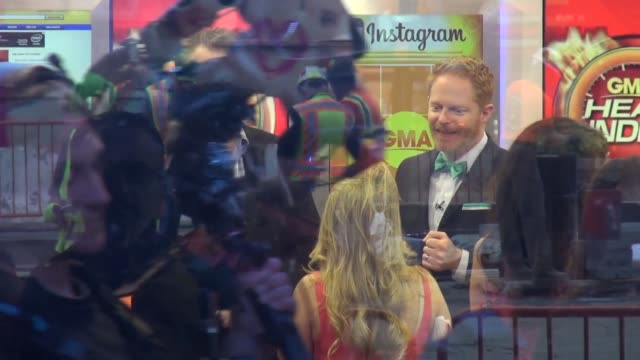 Jesse Tyler Ferguson and Eric Stonestreet on the Social Media set of the Good Morning America show Celebrity Sightings in New York Celebrity...