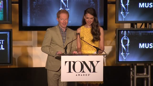 SPEECH Jesse Tyler Ferguson and Sutton Foster announce the nominees for best play and best musical at 2013 Tony Award Nominations at The New York...