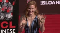 Jessica Chastain at Jessica Chastain Puts HandprintsFootprints In Cement at TCL Chinese Theatre IMAX on October 03 2016 in Hollywood California