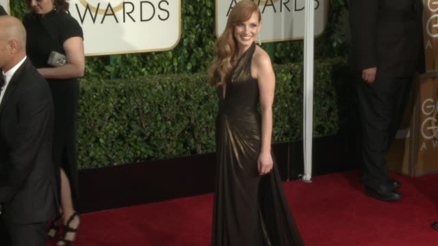Jessica Chastain at the 72nd Annual Golden Globe Awards Arrivals at The Beverly Hilton Hotel on January 11 2015 in Beverly Hills California