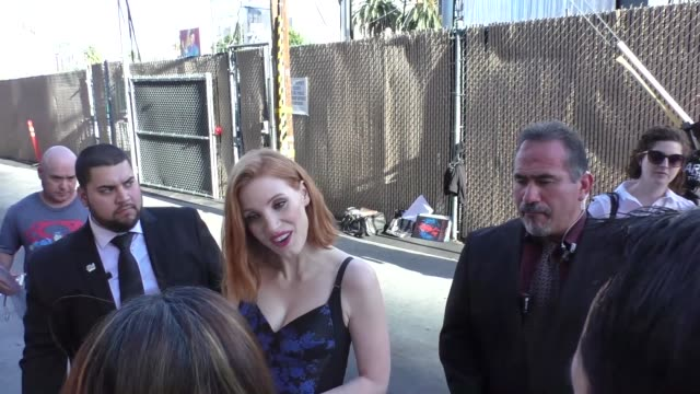 Jessica Chastain greets fans outside Jimmy Kimmel Live in Hollywood Celebrity Sightings on April 20 2016 in Los Angeles California