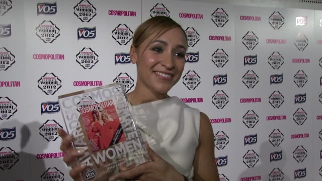 Jessica Ennis on it being an honour on having Denise Lewis speak about her her abs at Cosmo Woman of the Year Awards 2012 at Victoria Albert Museum...