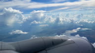 Jet Engine Flying through Clouds