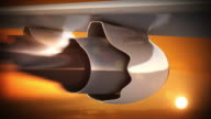 Jet engine in sunset light. Vacation trip. Loopable CG.