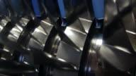 Jet engine turbine cut open HD video