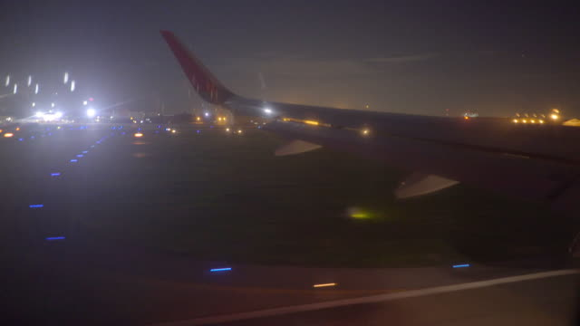 Jet plane landing in Los Angeles LAX airport. Window view with wing