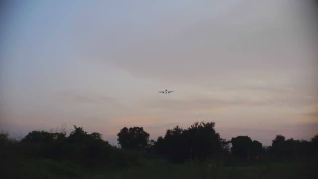Jet plane landing twilight.