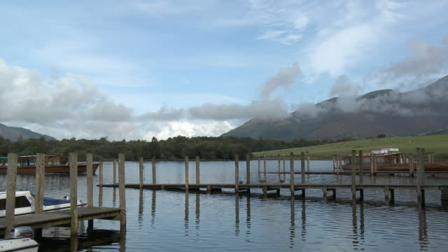 MS, Jetty and boat at Derwent Water, Lake District National Park, Cumbria, England