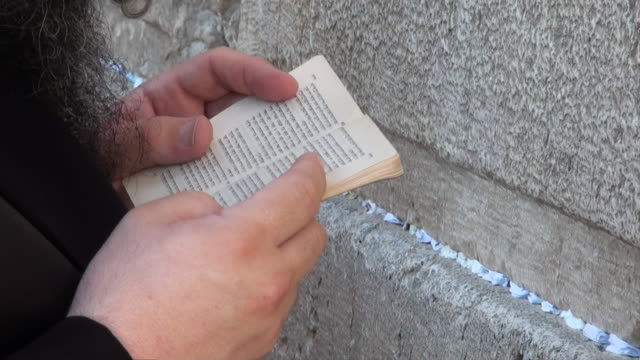 CU Jewish prayer holding book at Wailing Wall / Jerusalem, Mechoz Jeruschalajim, Israel