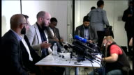 'Jihadi John' named as Mohammed Emwazi CAGE press conference cutaways More side views of Qureshi Rees and Bullivant press conference SOT very faint...