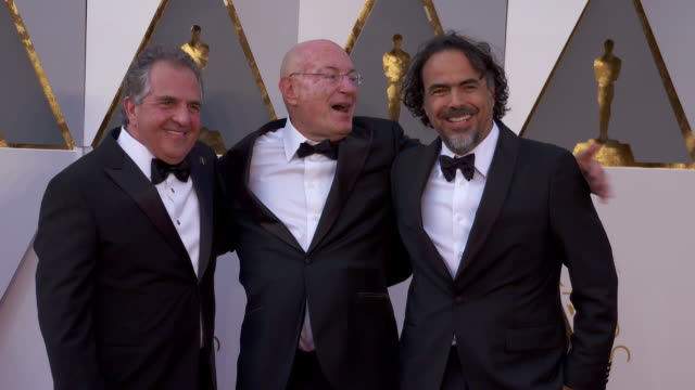 Jim Gianopulos Arnon Milchan and Alejandro Inarritu at 88th Annual Academy Awards Arrivals at Hollywood Highland Center on February 28 2016 in...