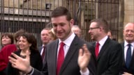 Jim McMahon welcomed to Westminster by Jeremy Corbyn ENGLAND London Westminster EXT Jim McMahon MP chats with other Labour MPs / John McDonnell MP...