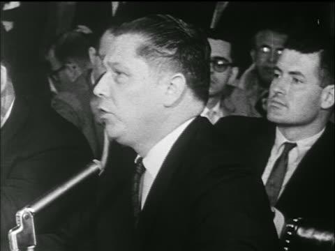 Jimmy Hoffa addresses committee / PAN TO JFK's response / Senate Labor hearings