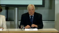 Pollard Report criticises BBC management BBC press conference ENGLAND London BBC Broadcasting House INT Lord Patten press conference SOT As you know...
