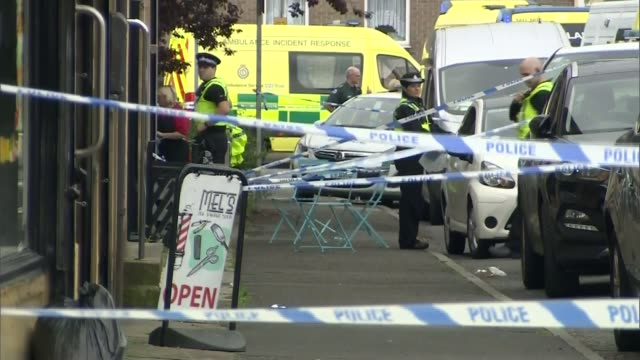 accused Thomas Mair 'shouted Britain First' LIB / General view police cordon with ambulances
