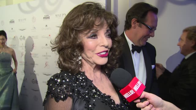 Joan Collins on the Global Gift Gala Christmas plans and her Bristol walk at Corinthia Hotel London on November 19 2017 in London England