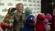 Joan Ganz Cooney and Sesame Street muppets at Sesame Workshop's 13th Annual Benefit Gala at Cipriani 42nd Street on May 27 2015 in New York City