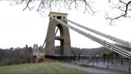 Clifton suspension bridge and body site ENGLAND Somerset Bristol EXT Clifton suspension bridge / closed circuit television cameras attached to bridge...