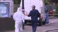 Police appeal for witnesses May 2017 ENGLAND London Enfield EXT Police tape cordons near crime scene Various shots of forensic officers and police...
