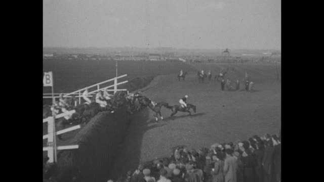 Jockeys race around the track / horses without jockeys continue around the track / King and Queen watch race / slowmotion video of jump / more...