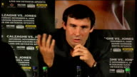 Joe Calzaghe / Roy Jones Jr press conference Calzaghe press conference SOT Changed date of fight because he sparined wrist in gym / No good fighting...