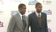 Joe Johnson and Al Horford at the TMobile Magenta Carpet At The 2011 NBA AllStar Game at Los Angeles CA
